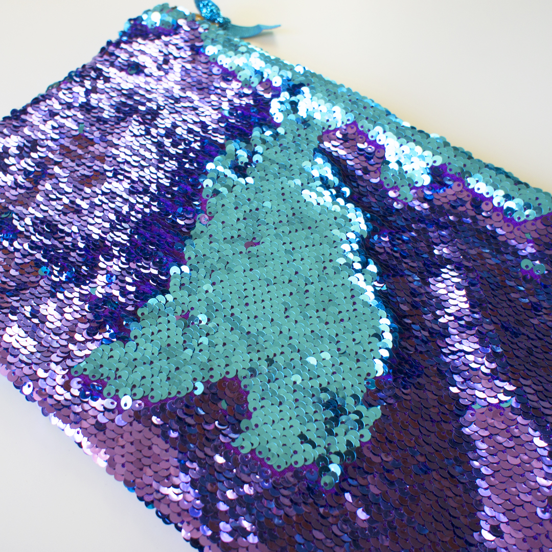 Turquoise and Purple Flip Sequin Evening Clutch Bag Party Mermaid Zipped Pouch